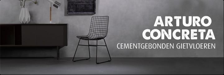 Arturo Concreta cementgebonden gietvloeren geven het interieur een stoere basis. Perfect te combineren met een industrieel in